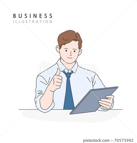 비즈니스,라인일러스트,동작,모션 70573992