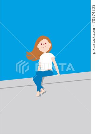 一個女人從防波堤看海 70574835