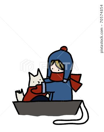 눈이 쌓인 날 개와 썰매 놀이를하는 소년의 손 일러스트 70574854