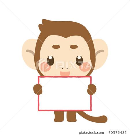 猴子舉著牌子 70576485