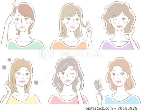 頭髮麻煩設置女人 70583929