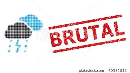 Grunge Brutal Seal Stamp and Halftone Dotted Thunderstorm 70585858
