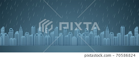 Cityscape with rain, dark sky, rainy season, paper art style 70586824