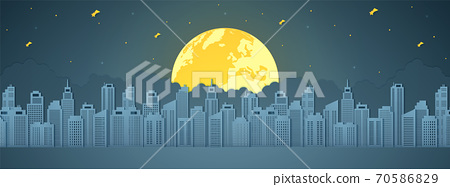Cityscape at night, building with full moon, star and cloud, paper art style 70586829