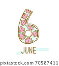 Hand writing 6 and june on white background. 70587411
