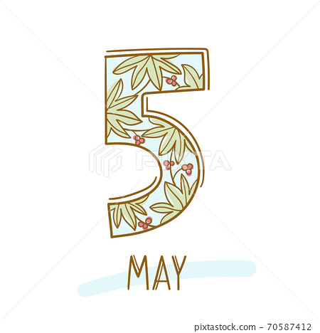 Hand writing 5 and may on white background 70587412