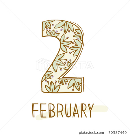 Hand writing 2 and february on white background. 70587440