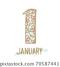 Hand writing 1 and january on white background 70587441