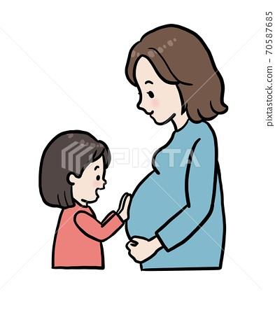 孕婦和兒童的素材插圖 70587685