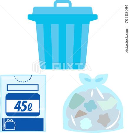 圖組的垃圾桶和垃圾袋 70588094