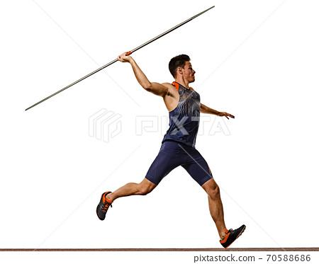 young man athletics Javelin athlete isolated white background 70588686