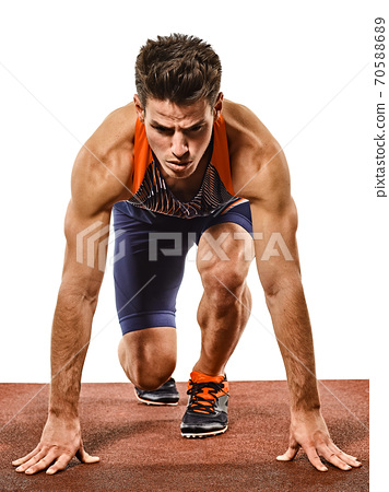 young man athletics runner running sprinter sprinting isolated white background 70588689