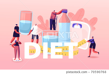 Diet Concept. Male and Female Characters Enjoying Healthy Lifestyle and Food. Sporty People Drinking Fresh Water Poster 70590768