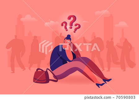 Female Lost in Crowd Concept, Frustrated Woman Sitting on Ground Surrounded with People in Big City, Social Problem 70590803
