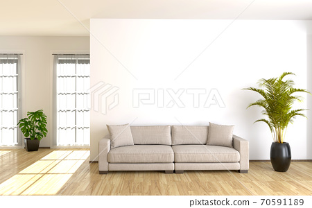 Modern living room interior with white wall. 3d render 70591189