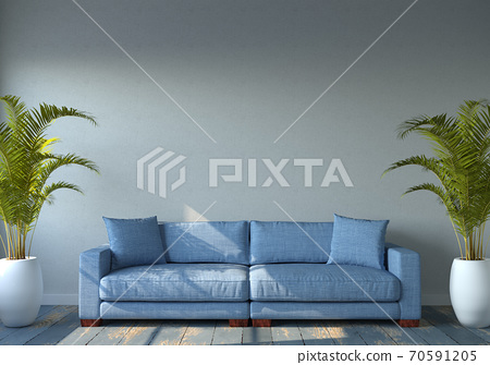 Living room interior with empty wall. 3d render 70591205