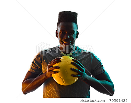 young african soccer player man isolated white background silhouette shadow 70591423