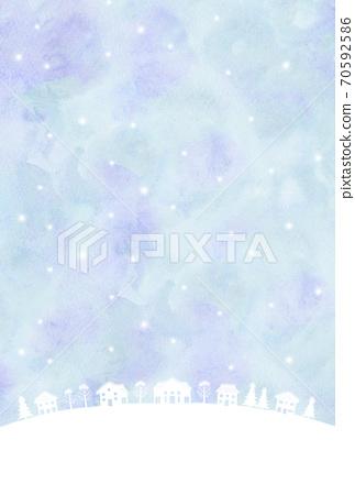 눈의 거리 풍경 실루엣 수채화 풍 70592586