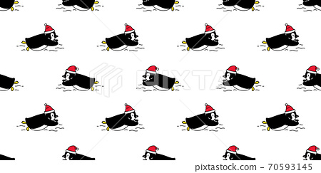 penguin Seamless pattern christmas santa claus hat bird vector swimming cartoon scarf isolated tile background repeat wallpaper illustration doodle design 70593145