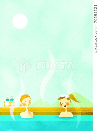 노천탕을 즐기는 두 젊은 여성의 배경 소재 일러스트 70593521