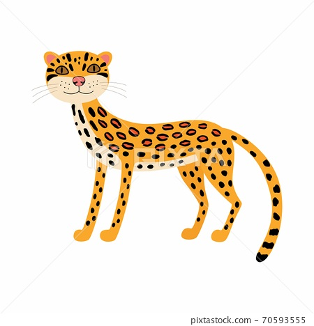 Cute animals ocelot. Cartoon wild cat isolated on white background. 70593555