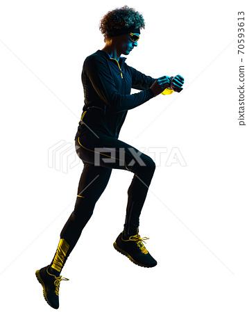 youg runner jogger running jogging man silhouette isolated white background 70593613