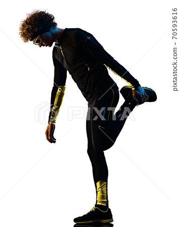 youg runner jogger running jogging man silhouette isolated white background 70593616