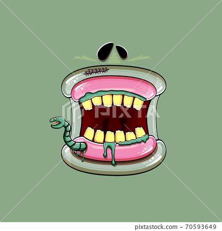Vector cartoon funny silly zombie monster mouth with rotten teeth and green worm isolated on green background. Vector happy Halloween kids t-shirt design template with funky monster mouth 70593649