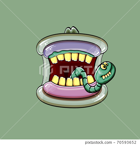 Vector cartoon funny silly zombie monster mouth with rotten teeth and green worm isolated on green background. Vector happy Halloween kids t-shirt design template with funky monster mouth 70593652