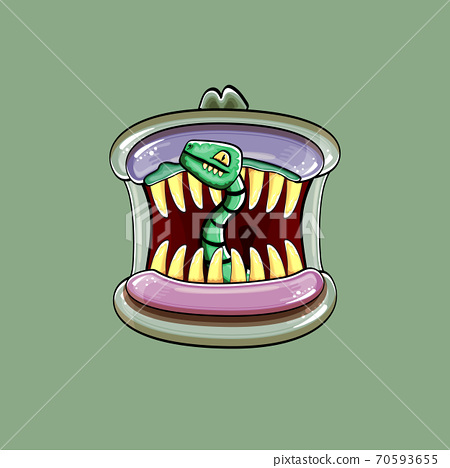 Vector cartoon funny silly zombie monster mouth with rotten teeth and green worm isolated on green background. Vector happy Halloween kids t-shirt design template with funky monster mouth 70593655
