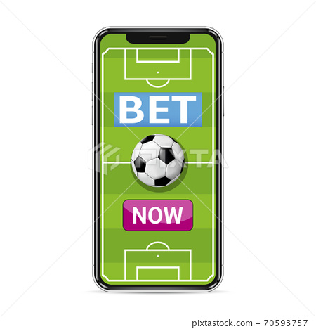 Bet now. Smart phone with football field for betting online concept 70593757