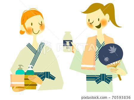 浴后浴衣的两名年轻妇女 70593836