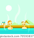 Illustration of two women enjoying an open-air bath 70593837