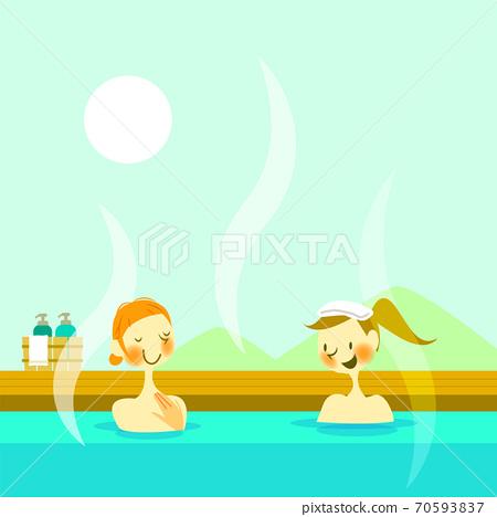 两名妇女享受露天浴的插图 70593837