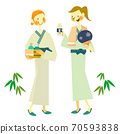 Two young women in yukata after bathing 70593838
