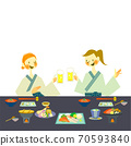 Two women enjoying Japanese food in yukata 70593840