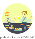 Two women enjoying Japanese food in yukata 70593841