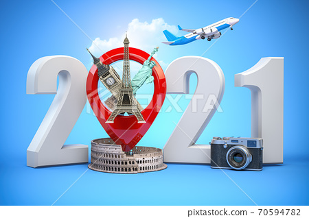 2020 Happy new year. Number 2020 and pin with most popular landmarks of the world. New year celebration in London, Paris, Rome or New York. 70594782