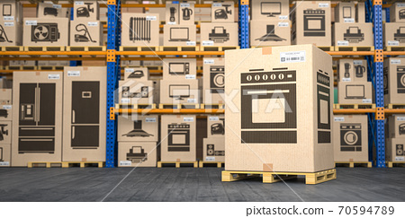 Cardboard box with gas cooker in warehouse with household appliances and kitchen electronics in boxes. Online purchase, shopping  and delivery concept. 70594789