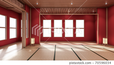 The interior color Red room inteior with tatami mat floor.3D rendering 70596034