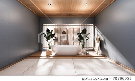 dark bathroom japanese style .3D rendering 70596053