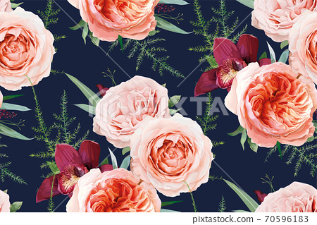 Vector, watercolor seamless floral pattern, textile fabric design. Blush peach, coral Rose flowers, tropical burgundy red orchid, green fern, leaves, eucalyptus. Chic wallpaper on navy blue background 70596183