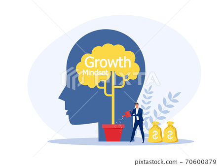 Businessman Watering plant on silhouette head growth mindset concept vector illustration. 70600879
