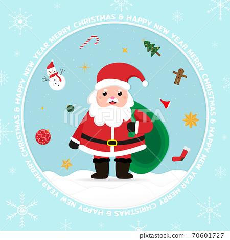 Christmas banner circle frame overlap white snowflake design. 70601727