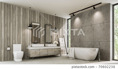 Loft style bathroom with wood plank and concrete wall 3d render 70602238