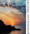 愛媛和二見海邊黃昏的景色 70602383