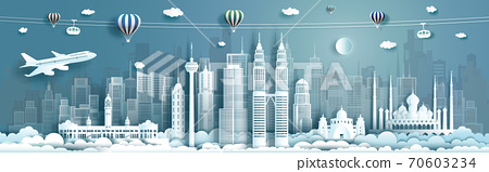 Travel architecture Malaysia landmarks in Kuala Lumpur famous city of Asia. 70603234