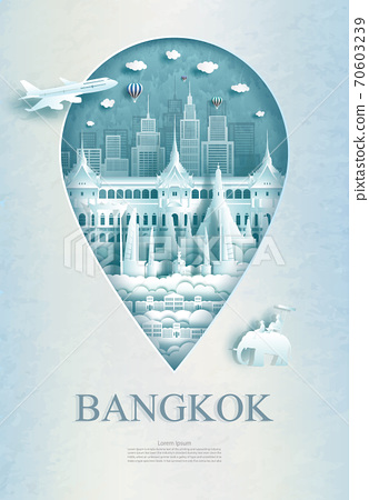Travel Bangkok monument pin in Thailand with ancient architecture. 70603239