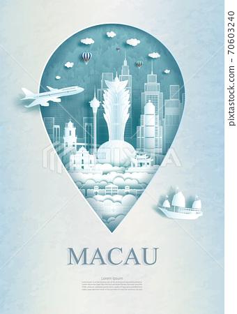 Travel Macau architecture monument pin in Asia. 70603240