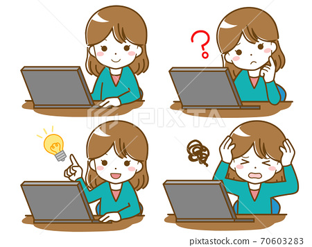 컴퓨터를 조작하는 여성 70603283